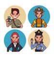 worker cartoon icons vector image