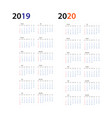 year 2019 and year 2020 calendar horizontal vector image