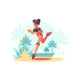 young attractive girl running vector image vector image