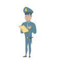 young policeman in uniform writing on clipboard vector image vector image