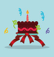 sweet cake birthday confetti decoration ribbon vector image