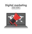 digital marketing concept megaphone and laptop vector image