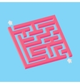 Isometric pink maze in pixel art style vector image