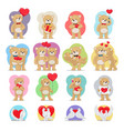 valentines day set bears and doves in love vector image