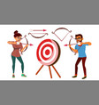 archery concept woman and man shooting vector image vector image