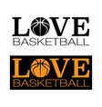 basketball outline symbols text vector image vector image