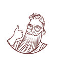 bearded hipster thumb up gesture vector image vector image
