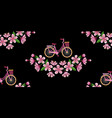 bike and cherry blossom embroidery seamless vector image vector image