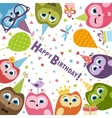 Birthday card with cute owls vector image vector image
