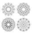 calligraphic circle lace patterns in monochrome vector image vector image