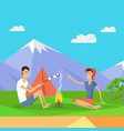 camping tent near fire and mountains happy couple vector image vector image