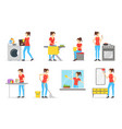 cartoon color characters woman housewife set vector image vector image