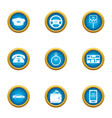 chauffeur icons set flat style vector image