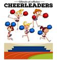 Cheerleaders cheering in the field vector image
