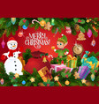 christmas gifts and xmas tree with snowman and elf vector image vector image