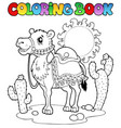 coloring book desert with camel 1 vector image