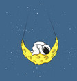 cute astronaut sleeps on crescent moon vector image vector image