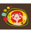 Cute portrait of the young girl with red hair vector image