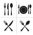 cutlery icons with fork knife spoon plate vector image