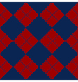 Diamond Chessboard Red Navy Blue Background vector image vector image