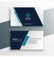 elegant business card design in blue geometric vector image vector image