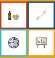 flat icon oneday set of whiteboard watch beer vector image vector image