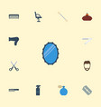flat icons razor comb blade and other vector image vector image