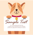 funny akita-inu holds sheet of paper for text vector image