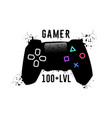 gamer 100 level gamepad emblem t-shirt garaphics vector image