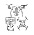 hand drawn lined of drones vector image