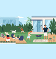happy family spending time in backyard mother vector image vector image
