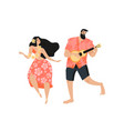 hawaiian party concept with a man playing the vector image vector image