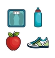 healthy lifestyle flat icons vector image vector image