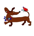 image dachshund with a wreath of flowers vector image vector image