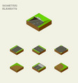 isometric way set of crossroad rotation sand vector image vector image