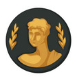 julius caesar gold portrait and olive branches vector image vector image