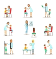 Kids On Medical Check-Up With Female Pediatrician vector image