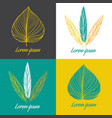 logo design element set feather and leaf vector image