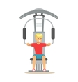 Man Doing Arms Exercise With Equipment And Weight vector image vector image
