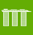 marina bay sands hotel singapore icon green vector image vector image