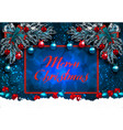 merry christmas greeting card with decorations on vector image vector image