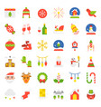 merry christmas icon set flat design vector image vector image