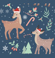 merry christmas seamless pattern cute fawn vector image vector image