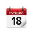 November 18 flat daily calendar icon vector image vector image