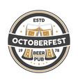 oktoberfest event vintage isolated badge vector image