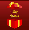 open gift box with text merry christmas and happy vector image vector image