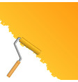 orange background with paint roller vector image vector image
