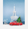 paper art of winter season and merry christmas vector image vector image