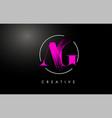pink ag brush stroke letter logo design vector image vector image