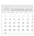 planners for 2016 october vector image vector image